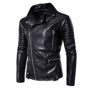 Vestes pour hommes Nouveaux vêtements d'hiver rembourrés en coton Vestes en PU pour hommes de loisirs en cuir manteau harley col cardigan chaînes veste en coton matelassé