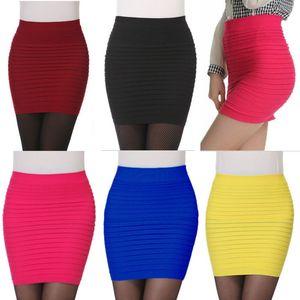 2014 Mode Frauen Sommer Faltenrock Candy Farbe Damen Hohe Taille Kurze Röcke Plus Size Elastic Mini Bodycon Geben Sie Schiff