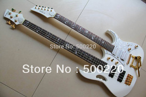 Toptan-Beyaz 7 Modeli Çift boyun elektro gitar 6 Dize gitar 4 Dize elektrikli BASS 130501