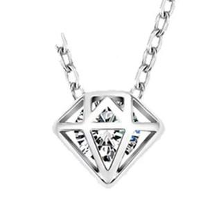 Colgante de joyería de plata de ley 925 collares de declaración de la boda encantos infinitos de la vendimia cruzan la corona de múltiples facetas en forma de diamante