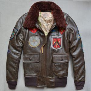 أعلى جودة سترة AVIREX JACKET الولايات المتحدة الطيار الرجال جلد طبيعي سترة بدلة جلدية الرجل G1 متعددة المعايير الطيران
