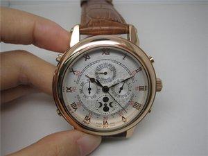 أعلى بيع الساعات ذكر الساعات ضعف الجانب البني حزام من الجلد أبيض الهاتفي ساعات جلد بني الرجل الساعات 0017