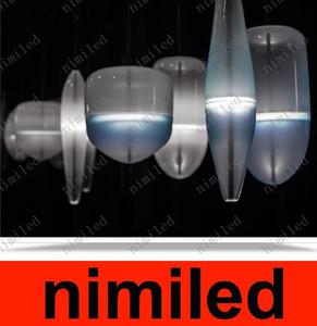 nimi785 Diseñador japonés Flow Lake Blue / Milk White Glass Chandelier Arts Crafts Huse Lámpara colgante Restaurante Bar Luces Droplight