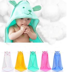 All'ingrosso-100 * 100cm Lovely Baby Bath Towel Cartoon Orso Infantile con cappuccio Accappatoio Coperte per bambini Swaddle Cotton Kids Bedding Super Soft