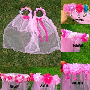 70 cm Do Bebê meninas cabo véu Crianças Cosplay Partido Grinaldas Meninas Flor Coroa de Flores Decoração de Cabelo Headband Do Bebê meninas cabelo Acessórios