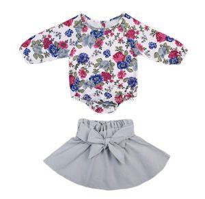 INS 아기 소녀 꽃 프린트 의상 코튼 어린이 꽃 romper + 보우 짧은 치마 2pcs / 세트 아동 의류 세트 C3223