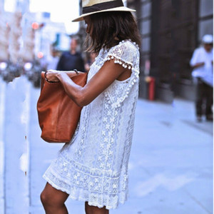 Women Summer White Lace Crochet Mini Dress 2016 New Style Casual Short Sleeve O-neck Cocktail Party Dresses Vestidos Fashion Hot loose dress