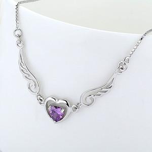 Atacado Angel Heart Pendant Colar Com Zircons 100% garantido Geuinie prata esterlina 925 pingentes colares de alta qualidade YH4252