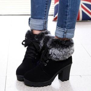 Ботильоны из искусственного меха модные женские на шнуровке ботильоны теплые зимние сапоги на высоком каблуке туфли на платформе женщина