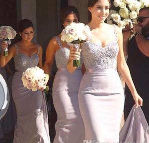 Elegante correa de espagueti sirena 2018 Vestidos de dama de honor largos Apliques de encaje sin espalda Vestidos de noche Fiesta Vestido de fiesta Más el tamaño Vestido de madre