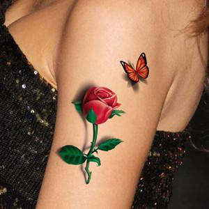Venta al por mayor-Tatoo 3D Rose Tattoo 2015 Flower Fake Butterfly Temporal de fantasía tatuajes a prueba de agua Pegatinas Mujeres Tatoo 3d