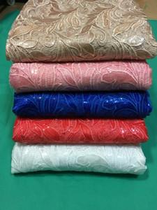 En popüler Fransız gipür dantel nakış parti elbise QW2 için payetler ile Afrika suda çözünür dantel kumaş (5 yards / pc)