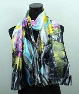 1 pcs rosa flor de lótus cinza escuro das mulheres moda cetim lenços de pintura a óleo xale praia lenço de seda 160x50 cm