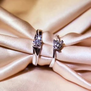 Factory 18K white gold Real gold couple rings Natural diamond engagement rings for women and man custom ring wholesale with certificate