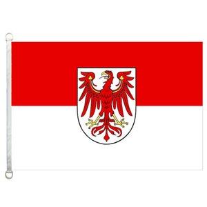 Drapeau de Brandebourg bannière 3X5FT-90x150cm 100% polyester, 110gsm drapeau extérieur de tissu tricoté
