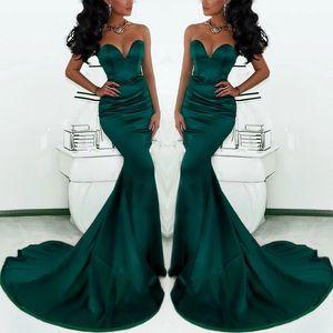 Muhteşem Sweetheart Uzun Emerald Green Mermaid Abiye Giyim 2020 Saten Fishtail Özel Durum Gelinlik Modelleri İçin Kadınlar
