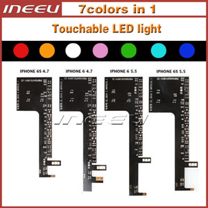 Luz LED táctil para Reemplazo de Logo LED táctil brillante para iPhone 6 6S Plus Luz de moda para iPhone 7 7 Plus, 7 colores en 1 Kits de luz