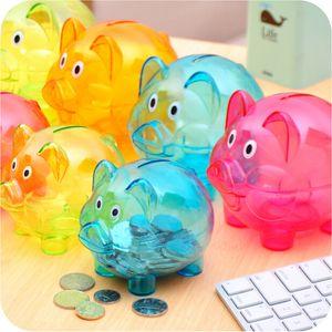 Хранения BottlWedding подарки прекрасный конфеты цветные прозрачный пластик копилка денежные ящики Принцесса корона Свинья копилка дети девушки JK12