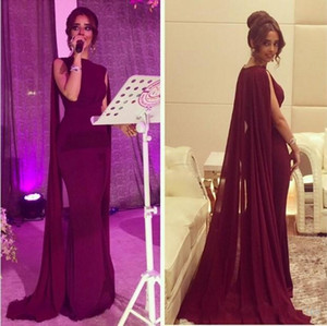 2020 New Vintage Sheath Red Carpet Celebrity Dresses with Long Chiffon Cape Wrap Arabic Pakistani Prom Evening Gowns Custom Made 407