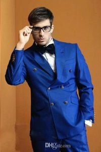 Customed Hot Sale Groom Tuxedos, Beau Costume Bleu Parti Royal Costume Groomsman Costume Mens (Veste + Pantalon + Cravate + Chemise) Costume Marié