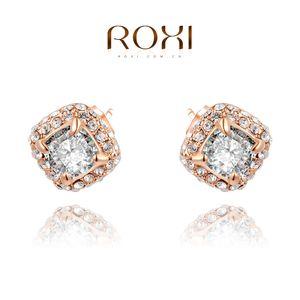 015 ROXI Frete Grátis Natal brincos de luxo, ouro rosa banhado CZ diamante 2 quilates 100% artesanal de moda jóias, 2020026590