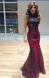 2018 새로운 레드 진주 블랙 스팽글 원단 댄스 파티 드레스 스카프 구슬로 장식 된 정장 가운 Crystal Sequins 쉬어 넥 라인 Tulle Long