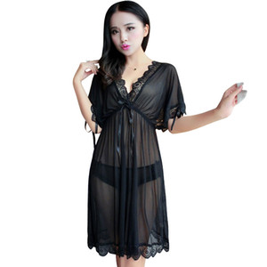 Spring summer hot new solid fashionable comfortable temptation v-neck pajamas women lingerie transparent lace black pink red sexy Sleepshirt