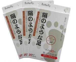 2015 New Japan borboleta Leite Vinagre De Bambu Pés Máscara Peeling Esfoliante Pele Morta Remover Os Pés Profissionais sox Máscara Cuidados Com Os Pés