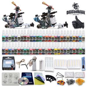 Completa Tattoo Kit agulhas 2 metralhadoras fonte de alimentação 54 tintas a cores D100GDD-6