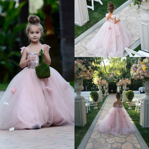 Lovely Girls Flowers Dresses 2016 Blush Pink Spaghetti Tiers Tulle with 3D Flora Appliques Princess Kids Pageant Party Gowns Custom BA1419