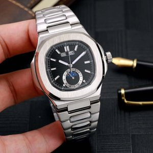 9 Farbe Luxus Herrenuhr PP Nautilus 5726 / 1A-001 mechanische automatische Männer Uhr Mondphase Uhr-Edelstahl-Armbanduhr