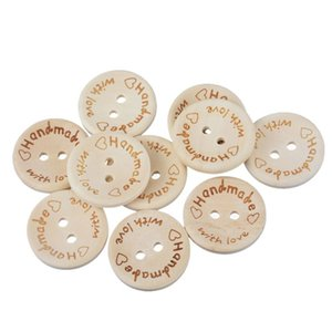 50PCs 2-hole Wooden Buttons Handmade With love DIY Crafts Scrapbooking Sewing Accessories Decorative Buttons 1.5cm 2cm 2.5cm Dia