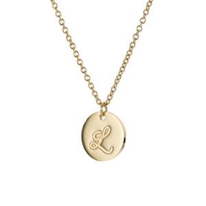 26 lettere placcato oro dell'acciaio inossidabile iniziale collana disco collana Lettere pendente delle donne Danity gioielli Dichiarazione Collana NL2600