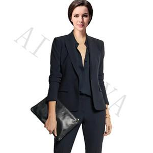 Chaqueta + Pantalones Trajes de negocios de las mujeres Negro Doble botonadura Femenina Uniforme de la oficina Fiesta formal de graduación del partido delgadas Señoras Traje de pantalón