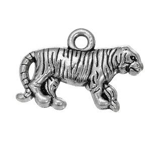 Frete grátis Nova Moda Fácil para diy 30 Pcs tigre animal encantos de metal fazendo jóias para colar ou pulseira