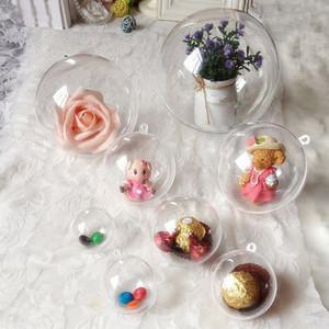 10pcs sapin de noël ornement décor clair en plastique balles transparent babiole artisanat cadeau présent boîtes peut ouvrir la boîte pour la décoration intérieure