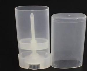 Portable DIY 500 Unids / lote 15 ml de Plástico Vacío Oval Lip Balm Tubes Desodorante Contenedores Clear White Lipstick Moda Cool Lip Tubes a178-a185
