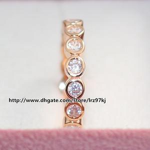 Moda Anel de Jóias Mulheres Anel Pandora Estilo Europeu 100% 925 Sterling Silver Rose Banhado A Ouro Sedutor Anel Brilhante com Cz Claro