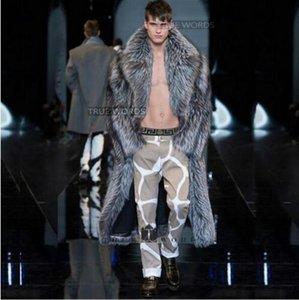 따뜻한 가짜 실버 폭스 모피 코트 망 가죽 자켓 남성 긴 트렌치 코트 빌리지 정장 칼라 겨울 느슨한 열 영국 겉옷