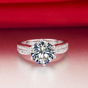 2 ct synthetische Diamantringe Sterling Silber Hochzeitsbänder für Frauen Verlobungsringe für Frauen Weißgold 18k Drop Shipping