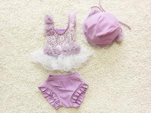 Toddle praia Swimwear coreano moda rendas crianças maiô doce applique com rendas do bebê meninas two-piece maiô 6 set / lote 1-8age ab900
