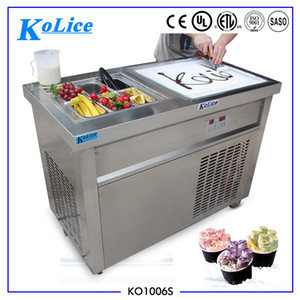 Free shipment ETL CE Single square pan+ 6 cooling tanks fried ice cream roll machine roll ice cream machine for Bars,Cafes,Hotel