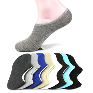 Venda por atacado- 5 pares / lote 2017 nova cor pura de algodão homens chinelo meias verão de alta qualidade anti-fricção moda barco meias invisíveis homens