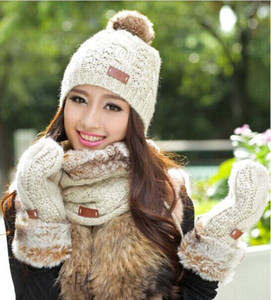 Wholesale-Plush new winter scarf hat gloves three-piece, lovely super soft warm thick velvet scarves pieces of sets, Christmas Gift Sets