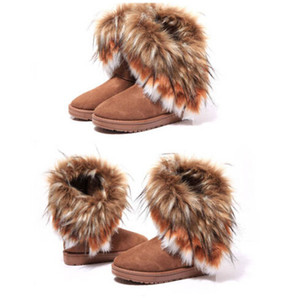 Hot Free shipping Fashion Rabbit hair and Fox Fur In tube Color matching warm snow winter boots for women & ladies boots