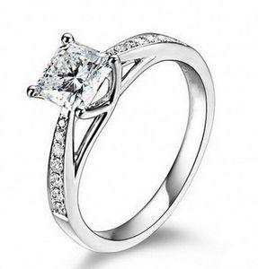 Vintage-Schmuck Echt 14K Gold überzogene echte 1 Ct SONA Lab Diamant-Ringe für Frauen Aneis de Diamante Hochzeit Verlobungsringe