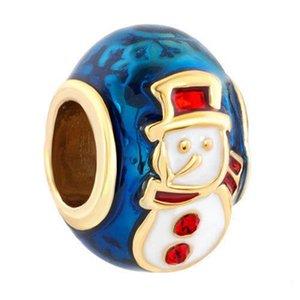 Kişiselleştirilmiş kadın takı big hole Avrupa renk emaye Noel kardan adam metal boncuk şanslı charms Pandora charm bilezik uyar