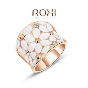 2016 Benzersiz Tasarım Austian Kristal Beyaz Çiçek Yüzükler Marka Düğün Nişan Yüzüğü 24 K Gül Altın Dolu Moda Takı A051