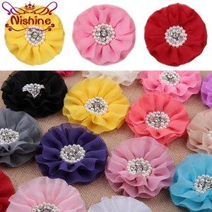 """Nishine 4"""" Mode en mousseline de soie avec fleur Bouton Perle Centre de bricolage pour bébé Bandeau filles Accessoires cheveux"""