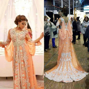 Robe de luxe Élégant Abaya Dubai Caftans Caftan Perlée 2016 A-Line Robe De Soirée À Manches Longues Robe De Soirée Arabe